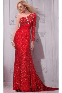 Sparkly One Shoulder Long Sleeve Red Sequin Crystal Evening Prom Dress