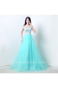 Stunning A Line Mint Green Tulle White Lace Prom Dress With Buttons