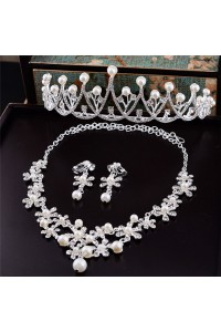 Stunning Alloy Pearl Wedding Bridal Tiara Crown Necklace Jewely Set