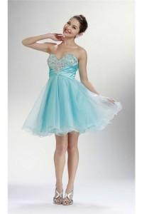 Stunning Ball Empire Waist Short Aqua Tulle Rhinestone Cocktail Prom Dress