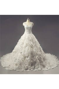 Stunning Ball Gown Organza Lace Flower Beaded Sparkly Wedding Dress