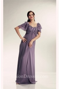 Stunning Empire Waist Gray Chiffon Beaded Mother Evening Dress With Sleeves