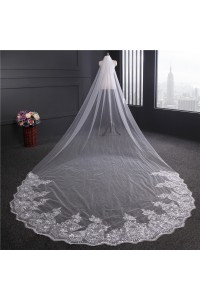 Stunning Four Meters Tulle Lace Sequined Wedding Bridal Cathedral Veil