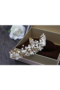 Stunning Gold Ally Pearl Wedding Bridal Tiara Crown