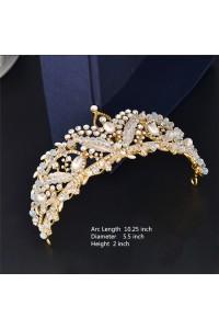 Stunning Gold Wedding Bridal Tiara Crown Swarovski Crystal