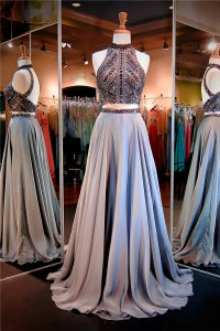 Stunning High Neck Open Back Two Piece Grey Chiffon Beaded Evening Prom Dress