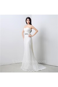 Stunning Mermaid Strapless Corset Back Lace Wedding Dress With Crystals Sash