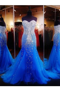 Stunning Mermaid Strapless Royal Blue Tulle Heavy Beaded Prom Dress