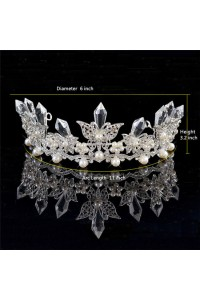 Stunning Pearl Crystal Wedding Bridal Tiara Crown