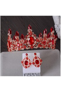 Stunning Red Prom Party Tiara Crown With Rhinestones