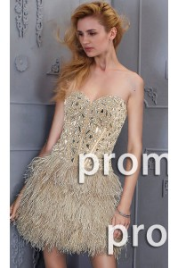 Stunning Strapless Short Mini Champagne Feather Beaded Prom Dress