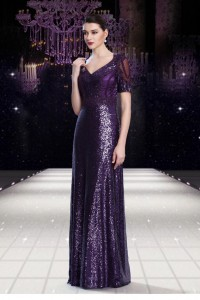Stunning V Neck Sheer Back Long Purple Sequin Formal Occasion Evening Dress With Sleeves