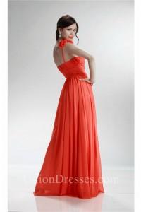Sweetheart Flower Strap Long Neon Orange Chiffon Bridesmaid Prom Dress