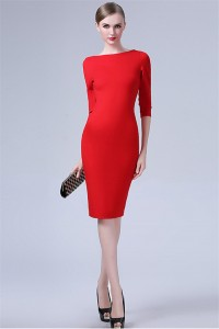 Tight High Neck Backless Short Red Jersey Party Evening Dress With Sleeves