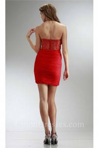 Tight Sweetheart Mini Red Chiffon Ruched Prom Dress With Beading Back