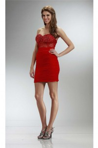 Tight Sweetheart Mini Red Chiffon Ruched Prom Dress With Beading