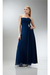 Traditional Strapless Navy Blue Chiffon Mother Evening Dress Bolero Jacket