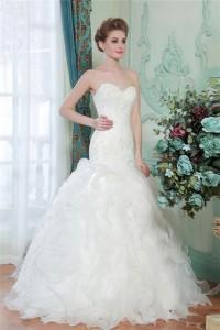 Trumpet Mermaid Sweetheart Organza Ruffle Lace Beaded Wedding Dress Corset Back
