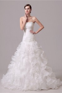 Trumpet Strapless Corset Back Organza Ruffle Wedding Dress Chapel Train