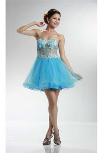 Tutu Strapless Sheer Short Sky Blue Tulle Beaded Prom Dress