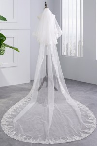 Two tier Tulle Lace Sequined Wedding Bridal Cathedral Veil
