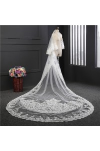 Two tier Tulle Lace Wedding Bridal Long Cathedral Veil With Comb