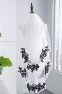 Two tier White Tulle Black Lace Embroidery Wedding Bridal Fingertip Veil