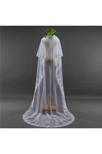 Two tier White Tulle Lace Sequined Wedding Bridal Cathedral Veil