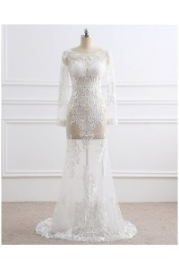 Unique Bateau Neckline Sheer See Through Lace Wedding Dress With Long Sleeves