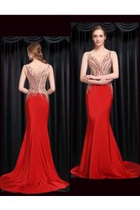 Unique Mermaid Bateau Illusion Neckline Red Satin Beaded Special Occasion Evening Dress