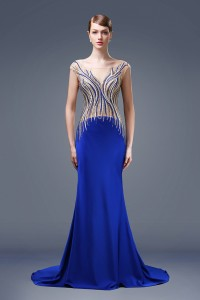 Unique Mermaid Bateau Neck Royal Blue Satin Beaded Special Occasion Evening Dress