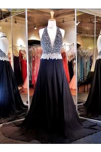 Unique Sexy A Line Deep V Neck Backless Long Black Chiffon Beaded Prom Dress