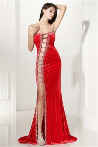Unique Sexy Cutouts Long Red Charmeuse Beaded Prom Dress With Slit