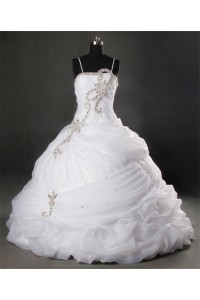 Unusual Ball Gown Spaghetti Strap Organza Ruched Wedding Dress With Crystals