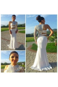 Unusual Sexy Mermaid One Shoulder White Jersey Beaded Prom Dress With Sleeves
