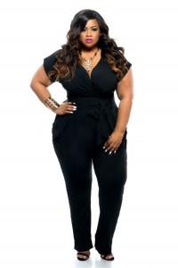 V Neck Black Spandex Short Sleeve Plus Size Women Jumpsuit With Sash