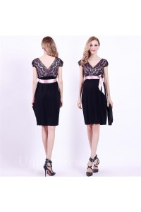 V Neck Cap Sleeve Empire Waist Short Black Jersey Lace Maternity Party Dress With Sash