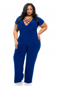V Neck Front Lace Up Black Spandex Plus Size Women Jumpsuit With Sleeves