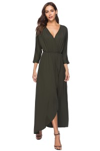 V Neck High Low Olive Green Chiffon Summer Beach Party Dress With Sleeves
