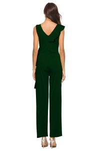 V Neck Ruffle Dark Green Stretch Evening Jumpsuit For Women