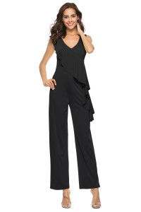 V Neck Ruffle Black Stretch Evening Jumpsuit For Women