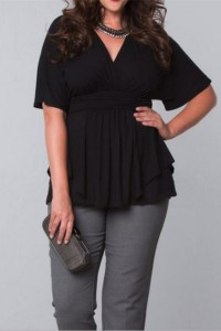 V Neck Short Sleeve Little Black Plus Size Dress