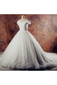 Vintage Ball Gown Off The Shoulder Organza Lace Beaded Wedding Dress Chapel Train