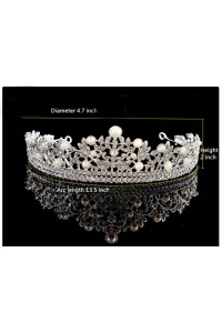 Wondeful Alloy Rhinestone Wedding Bridal Tiara Crown With Pearls