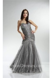 wonderful mermaid sweetheart corset gray tulle ruched prom