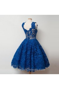 Ball Gown Scalloped Neck Short Royal Blue Lace Party Prom Dress Back