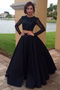 Beautiful Beaded Black Two Pieces Prom Party Dress Scoop Long Sleeves