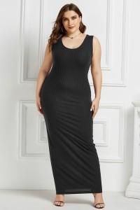 Beautiful Long Sheath Scoop Sleeveless Black Knitted Plus Size Midi Dress