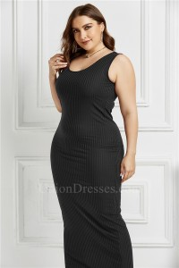 Beautiful Long Sheath Scoop Sleeveless Black Knitted Plus Size Midi Dress