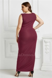 Beautiful Long Sheath Scoop Sleeveless Burgundy Knitted Plus Size Midi Dress